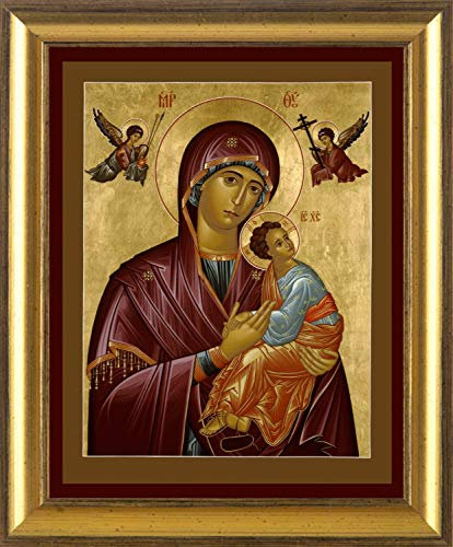 Trinity Stores Wall Framed Religious Art Print - Gold Scoop-10x12 Our Lady of Perpetual Help by Br. Robert Lentz, OFM