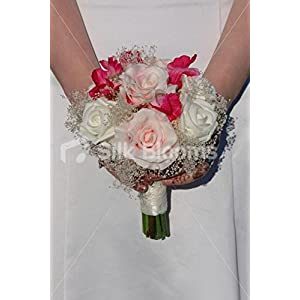 Ivory & Pink Rose, Sweetpea & Gypsophila Bridesmaids Bouquet 73