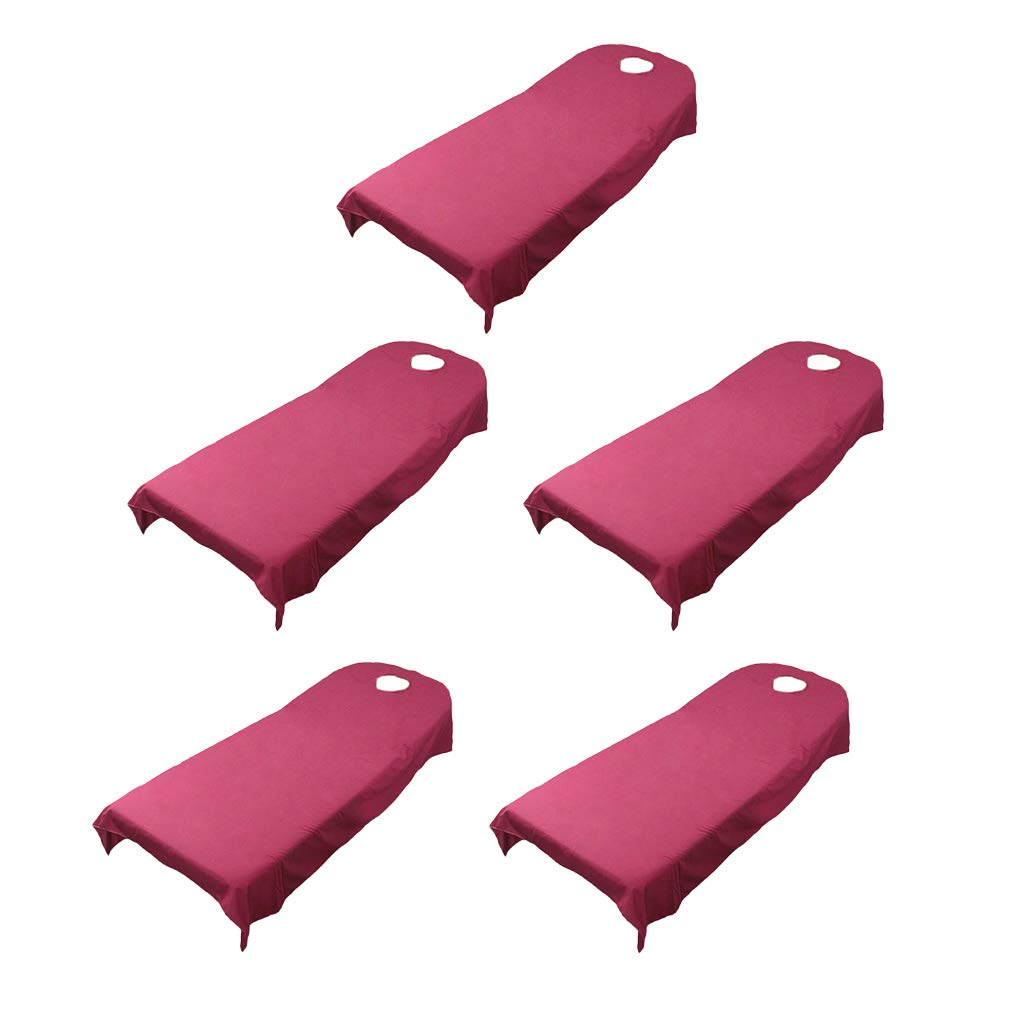 Fityle 5Pcs Massage Bed Cover Spa Treatment Couches Sheets Breath Face Hole - Wine Red