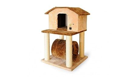 Rascador para gatos con casita