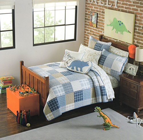 2 Piece Twin Quilt & Sham Set Prehistoric Pals Cotton Reversible Patchwork Bedspread, Dinosaurs Bedding Coverlet (Twin)