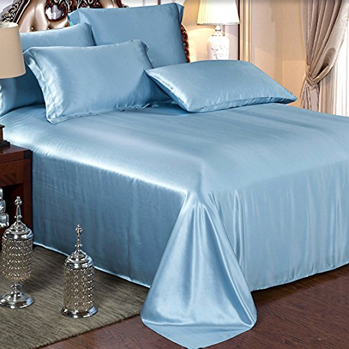 Ellesilk Dark Blue Pure Silk Sheet Sets 25 Momme Seamless