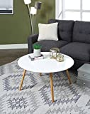 Round White Wood Coffee Table Convenience Concepts 203482W Coffee Table, Glossy White