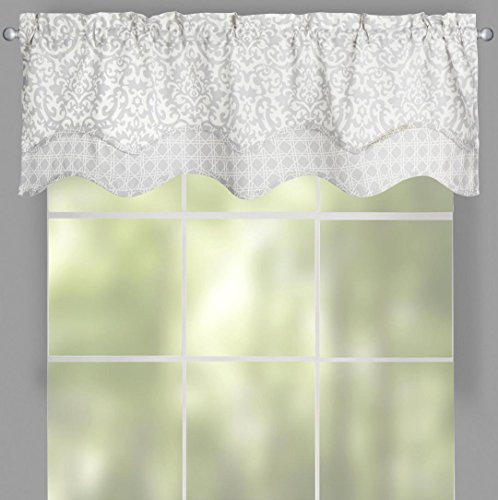 "Traditions by Waverly White and Gray Duncan Damask Geometric with Criscross Border Scalloped Window Valance, 52""W x (Layered Scalloped Valance)"