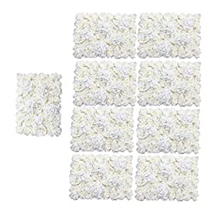 Fityle Romantic Artificial Flowers Wall Panel Wedding Venue Floral Decor Cream,Pack of 9 43