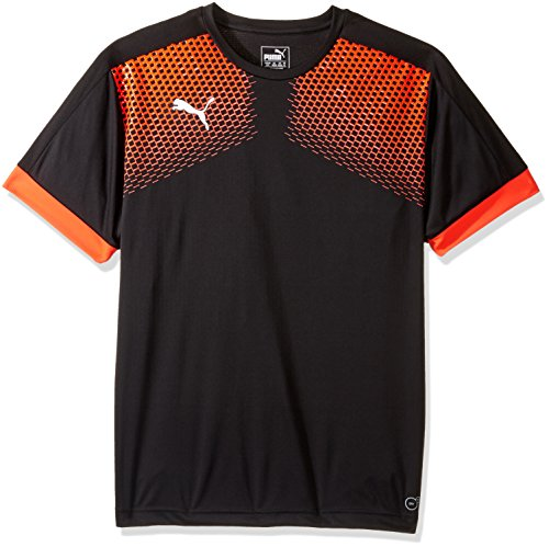 PUMA Men's It Evotrg Graphic Tee Touch, Puma Black/Red Blast, Large