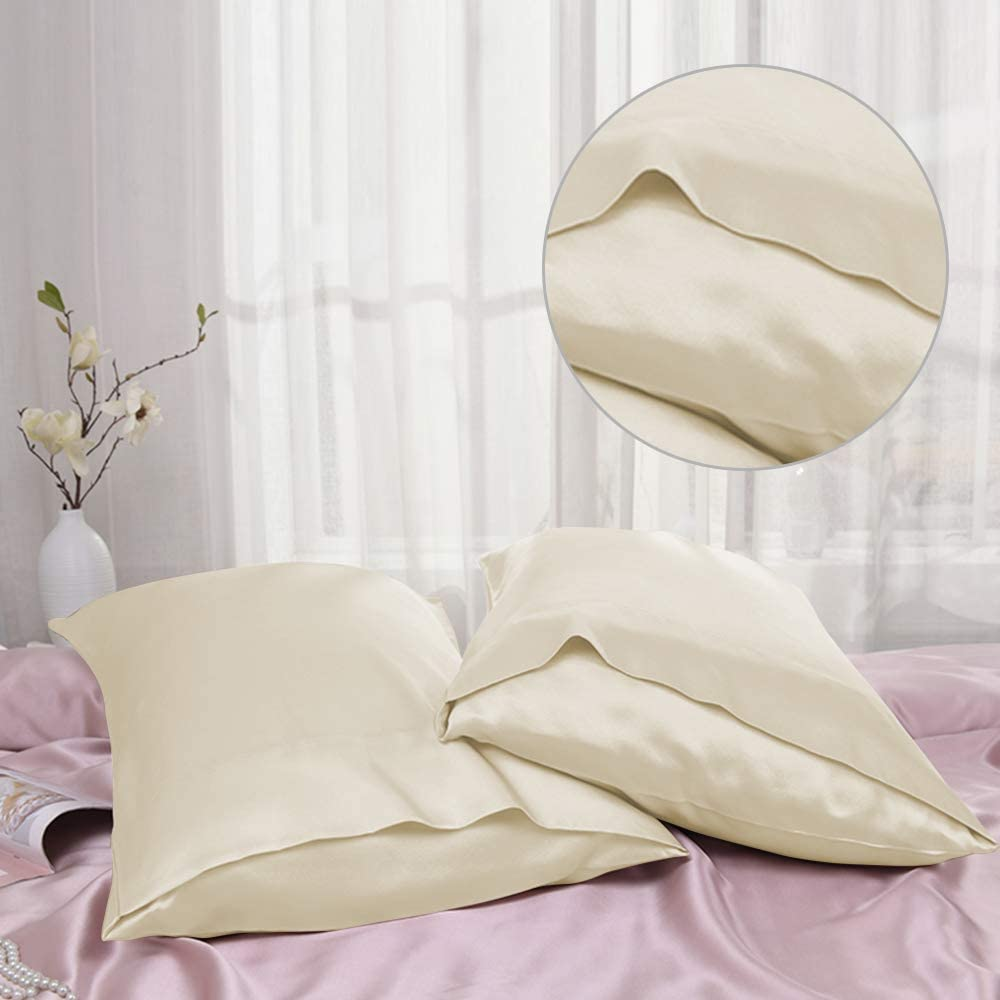 20x26 inches Satin Pillow Cover with Envelope Closure Muama Luxury Satin Pillowcases for Hair and Skin Set of 2 Beige Standard Size