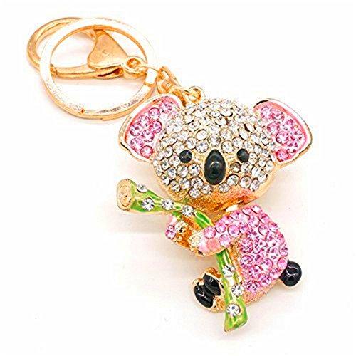 JewelBeauty Cute Lovely Pink Fashion Koala Bear Animal Diamond Crystal Rhinestone Gold Crystal Keychain Charm Pendent for Women Girl Handbag Purse Bag Keyrings Charm Gift (Pink)