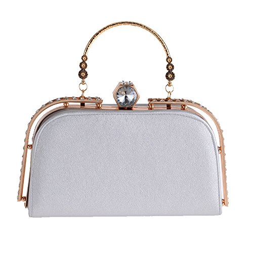 Diamond Silver Dinner Women's Leather Handbag Bag Purse Minimalist Ladies Bag Evening Banquet PU Casual Fashion Clutch Bag tqfBaUw