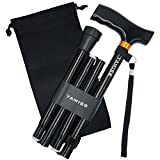 YAMISR Folding Cane with Carrying Bag - Cane for Men & Women Adjustable,Collapsible, Lightweight, Portable & Comfortable Handles by (Black)