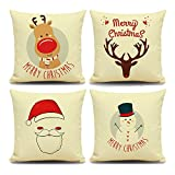 "Monkeysell Set of 4 Linen Square Throw Pillow Cover Christmas Creative Decoration Present Pillowcase Cushion Cover with Snowman Elk Owl Santa Claus Lion for Each Family 18""X 18"""
