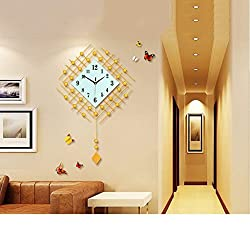 PQPQPQPQ Black Gold Metallic Diamond Wall clock Clocks and watches pendulum clock Square Modern Suitable for living room & bedroom & home & kitchen Mute silent Large Size 73 48 cm (Color : Gold)