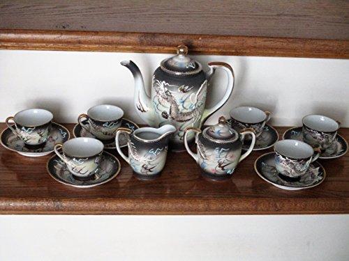 (Antique China Tea Service Set Handpainted Japan ... tea pitcher w/ lid, sugar w/ lid, creamer, 6 cups, 6 saucers)