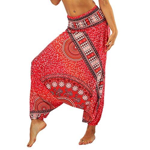 Lcoco&Dream Women's Drop Bottom Elastic Waist Loose Fit Baggy Gypsy Hippie Boho Yoga Harem Pants (one Size, ycL005) (Pants Red Yoga Harem)
