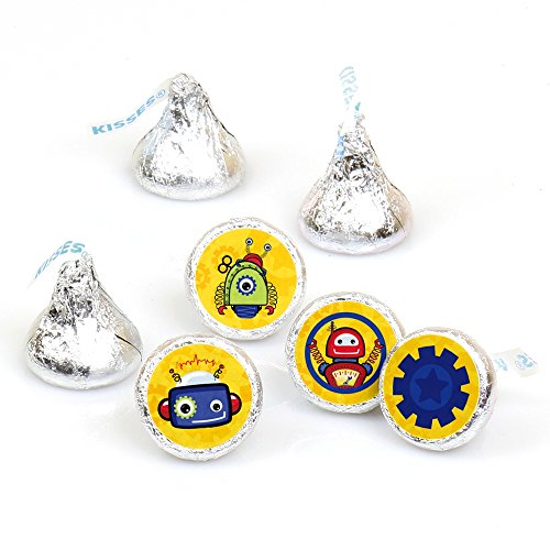 [Robots - Party Round Candy Sticker Favors – Labels Fit Hershey's Kisses (1 sheet of 108)] (Robot Sticker)