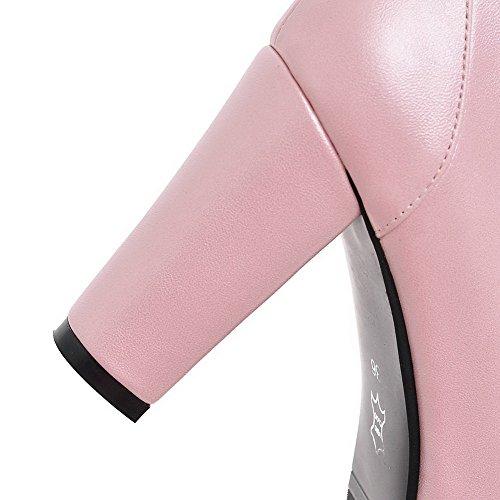AllhqFashion Damen Rein Weiches Material Hoher Absatz Schnalle Rund Zehe Pumps Schuhe Pink