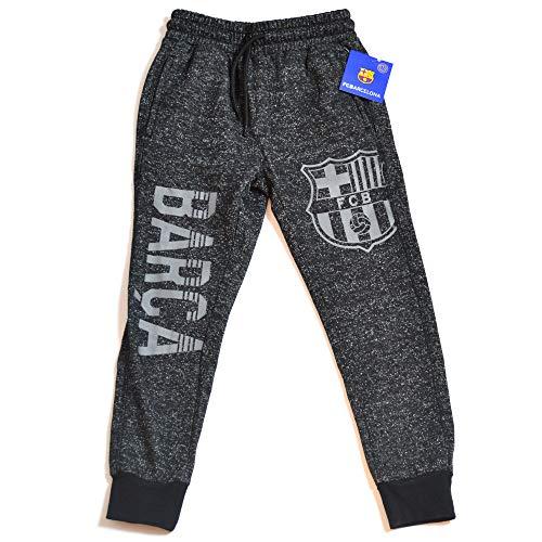 FC Barcelona Navy Joggers Sweatpants Fleece Pants Youth Boys + Sticker (YM, Grey Dark)