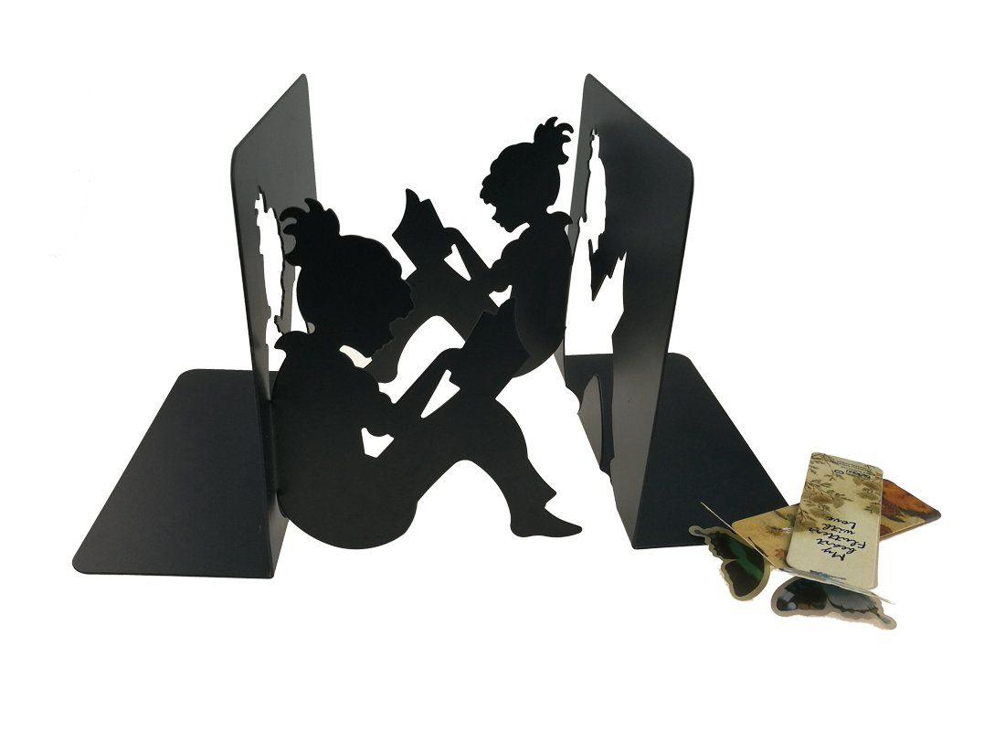 One Pair Metal 3D Paper-Cut Reading Girl Patten Moment Bookends Book Ends with 2 Flying Butterfly Bookmark for Kids Teachers Students Study Gift School Library Desk Office Home Decoration (Black)