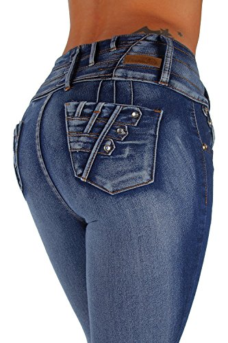 K584P - Plus Size, Colombian Design, Butt Lift, Levanta Cola, Skinny Jeans in Washed Blue Size 16