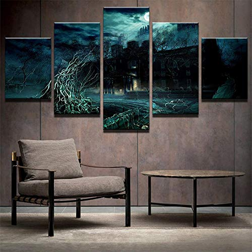 (PEACOCK JEWELS [Large] Premium Quality Canvas Printed Wall Art Poster 5 Pieces / 5 Pannel Wall Decor Spooky Asylum Painting, Home Decor Pictures - Stretched)