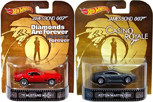 Hot Wheels 007 Casino Royale Diamonds are Forever Retro Entertainment James Bond 2 car Aston Martin DBS & Mustang Mach 1