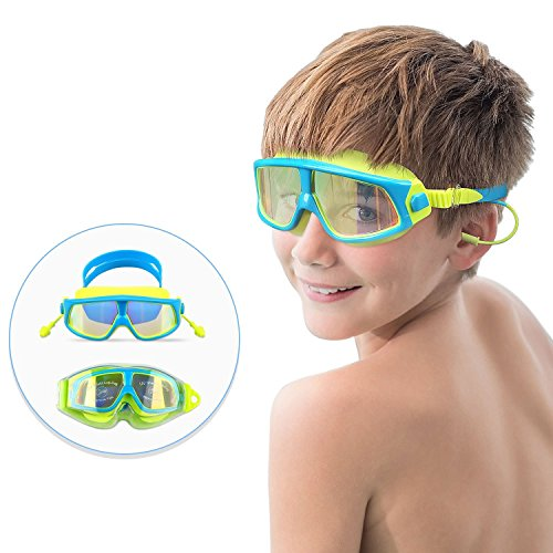 Spinosaurus Kids Swim Goggles(Age 3-15 Years), Fashionable, Anti-Fog,UV Protection, No Leaking, Coated Lens,with case and earplugs, HD Swim Goggles for Kids Youth and Teenagers (Light Blue Yellow)