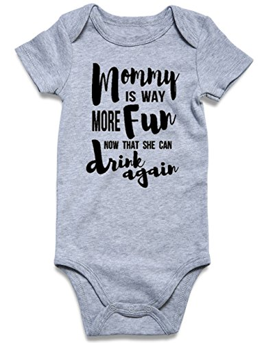Funnycokid Funny Baby Boys Clothes Infant Romper Bodysuits Grey 6-12 Months
