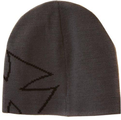 Cuffless Iron Cross Side Beanie Cap - Grey/Black