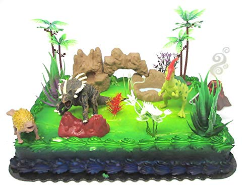 Prehistoric Roaming DINOSAURS 12 Piece Birthday Cake Topper Set Featuring Random Dinosaur Figures and Themed Decorative Accessories by Cake Topper