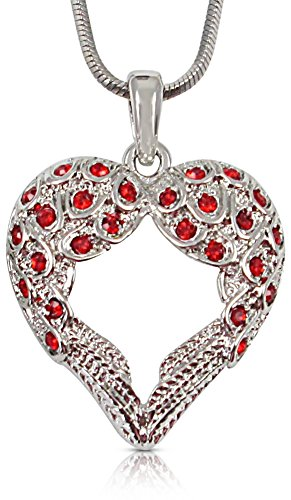 Crystal Guardian Angel Heart Shaped Wings/Wing Pendant Necklace Gift for Women Teens Girls (Red)