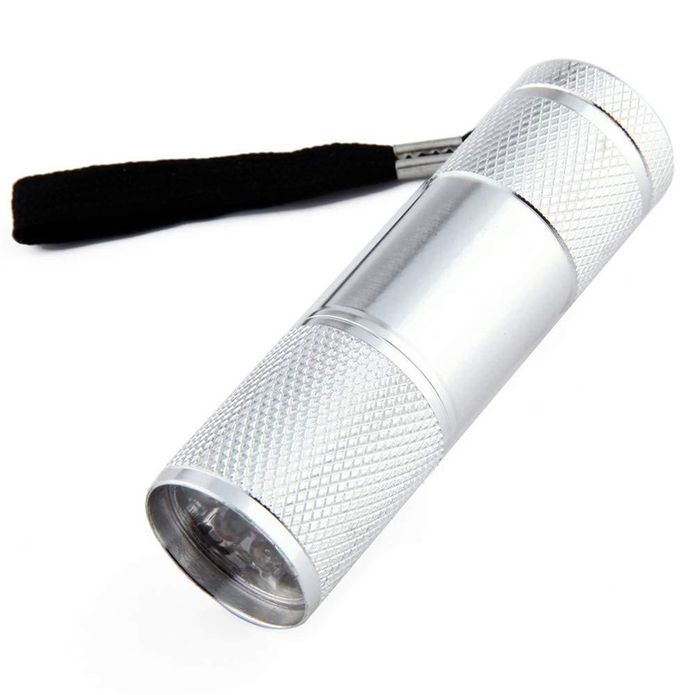 2pcs 9 LEDs Multifonction antidérapante torche Détection d'urgence portable UV super lumineux Mini lampe de poche(Argent)
