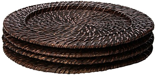 Round Rattan Brick Brown 13-Inch Charger, Set of 4 (Plate Charger)