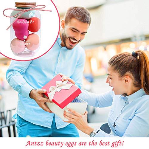 Antzz Makeup Sponge Set Blender Pink Princess Series, Cosmetics Beauty Foundation Blending Sponge, Flawless for Liquid Cream, and Powder, Multi-colored Latex Free plus Vegan Makeup Sponge
