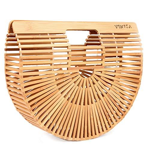(Vintga Bamboo Handbag Handmade Tote Bamboo Purse Straw Beach Bag for Women (Bamboo Small))