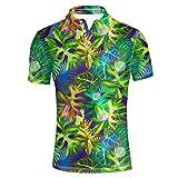 HUGS IDEA Hawaiian Men's Golf Polos Shirt Green Leaves Print Summer Beach T-Shirt Tee Soft Breathable Short Sleeve