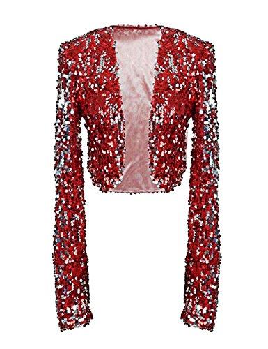 kayamiya Women Sequin Jacket Long Sleeve Sparkly Cropped Shrug Clubwear XL/US 12-14 Burgundy -