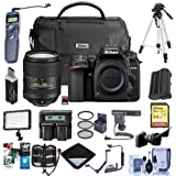Nikon D7500 DSLR with AF-S DX NIKKOR 18-300mm f/3.5-6.3G ED VR Lens - Bundle with 64GB SDHC Card, Camera Bag, Spare Battery, Remote Shutter Release, Video Light, Tripod, Shotgun Mic, and More