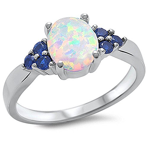 Lab Created White Opal & Blue Sapphire .925 Sterling Silver Ring Sizes 4-12 (7) (Diamond Created Opal Ring)