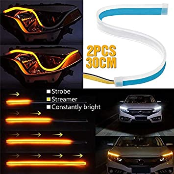 Daphot-Store New 2Pcs 60CM//45CM//30CM 3 Lighting modes DRL strip for cars or headlights customizations Turn signal or Daytime running light