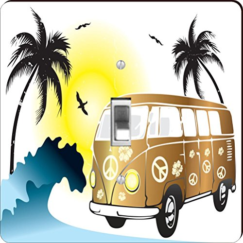 Rikki Knight RK-LSPS-44634 Retro Gold Volkswagen on Beach...