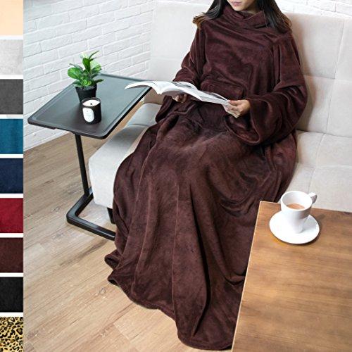 50' Fleece Throw Blanket (Premium Fleece Blanket with Sleeves by Pavilia | Warm, Cozy, Extra Soft, Functional, Lightweight (Brown, Regular Pocket))
