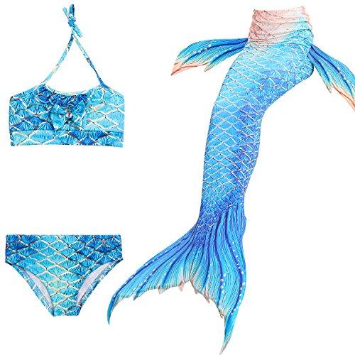 Kokowaii Fancy Girls Newest Mermaid Tail Sets for Swimming Kids Bikiniwear