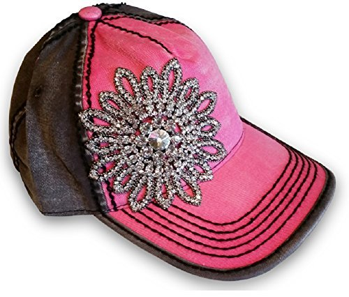 Olive & Pique Large Rhinestone Flower Two-Tone Ball Cap (One Size, Fuchsia Charcoal)