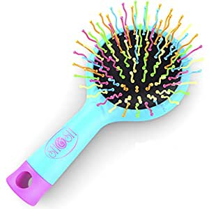 Detangling Brush with Mirror- No Tangle & Pain- Anti Static Soft Bristle- Massaging & Straightening Detangler- Rubberized Grip- Cool/ Cute Colors- Wet & Dry Detangle Comb- For All Hair Types (Blue)