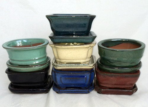 Small Ceramic Bonsai Pot plus Saucer - 4