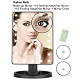 ENSIMU Vanity Makeup Mirror 22 LED Lighted with Touch Screen,Detachable 10 X 15X Magnification Spot Mirror,360°Adjustable Stand,Free Mirror Cloth, Cosmetic Bathroom Mirror