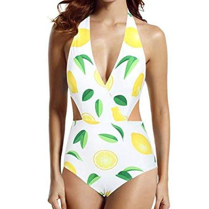 HCFKJ Trajes De BañO Sexy Mujer BañAdor De Una Pieza con Cuello En V con Estampado De LimóN Traje De BañO Ropa De Playa Bikini Amarillo: Amazon.es: Ropa y ...