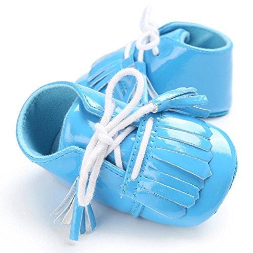 Igemy 1Paar Baby Neugeborene Troddel Soft Sole Leder Schuhe Jungen Mädchen Kleinkind Krippe Prewalker Blau