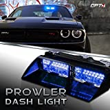 Prowler Emergency Dash Light - True Daytime Visible LED 18 Strobe Patterns for Law Enforcement, Warning, First Response, Fire, Security, and Traffic Control POV Vehicles - 2 Yr Warranty [Blue/Blue]
