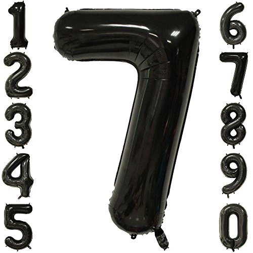 40 Inch Extra Giant Number Balloons Black Mylar Foil Large Number 7 Big Helium Balloon Birthday Party Decoration Black Foil Balloon